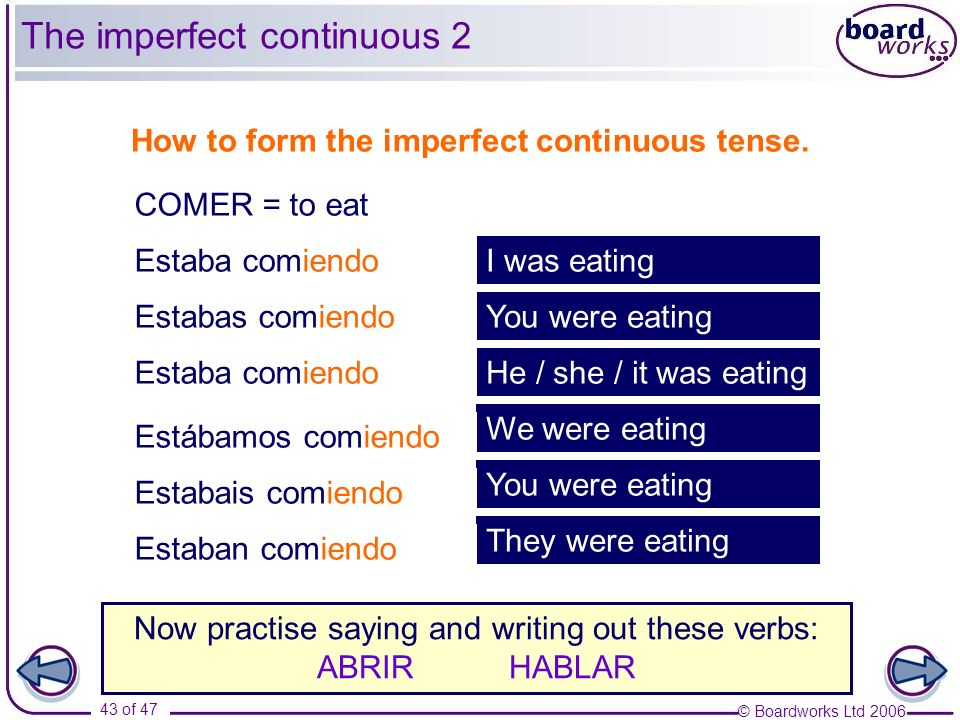The imperfect continuous 2