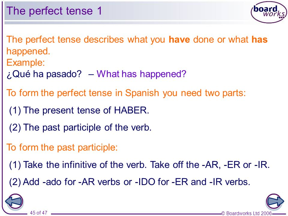 The perfect tense 1 The perfect tense describes what you have done or what has happened. Example: ¿Qué ha pasado – What has happened