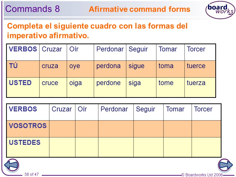 Commands 8 Afirmative command forms