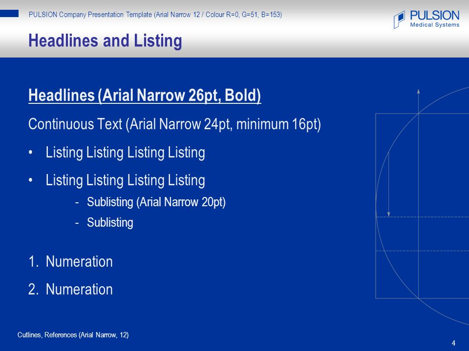 Headlines and Listing Headlines (Arial Narrow 26pt, Bold)