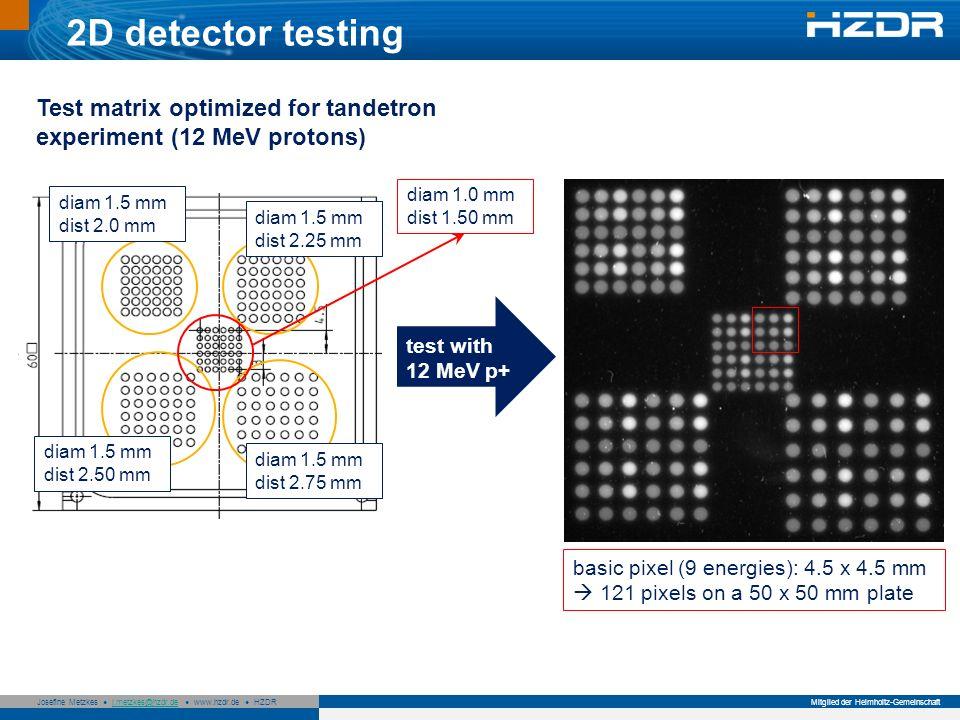 2D detector testing Test matrix optimized for tandetron