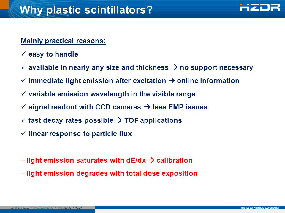 Why plastic scintillators