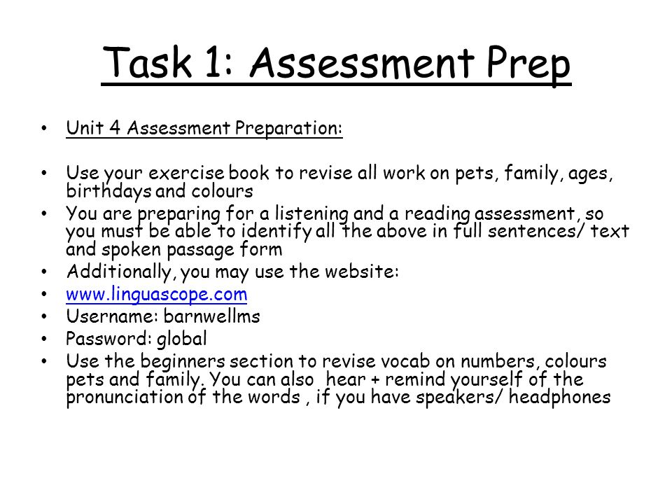 Task 1: Assessment Prep Unit 4 Assessment Preparation:
