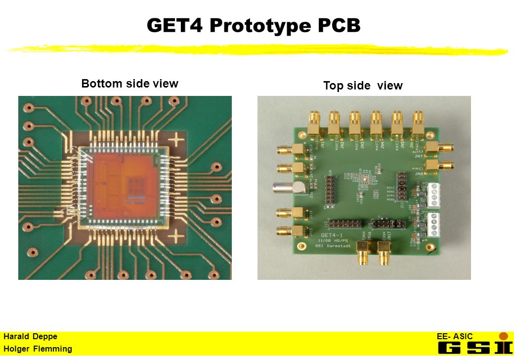 GET4 Prototype PCB Bottom side view Top side view