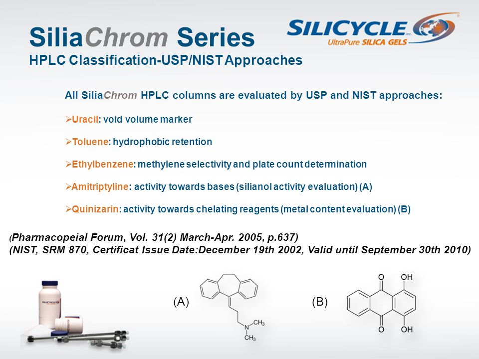 SiliaChrom Series HPLC Classification-USP/NIST Approaches