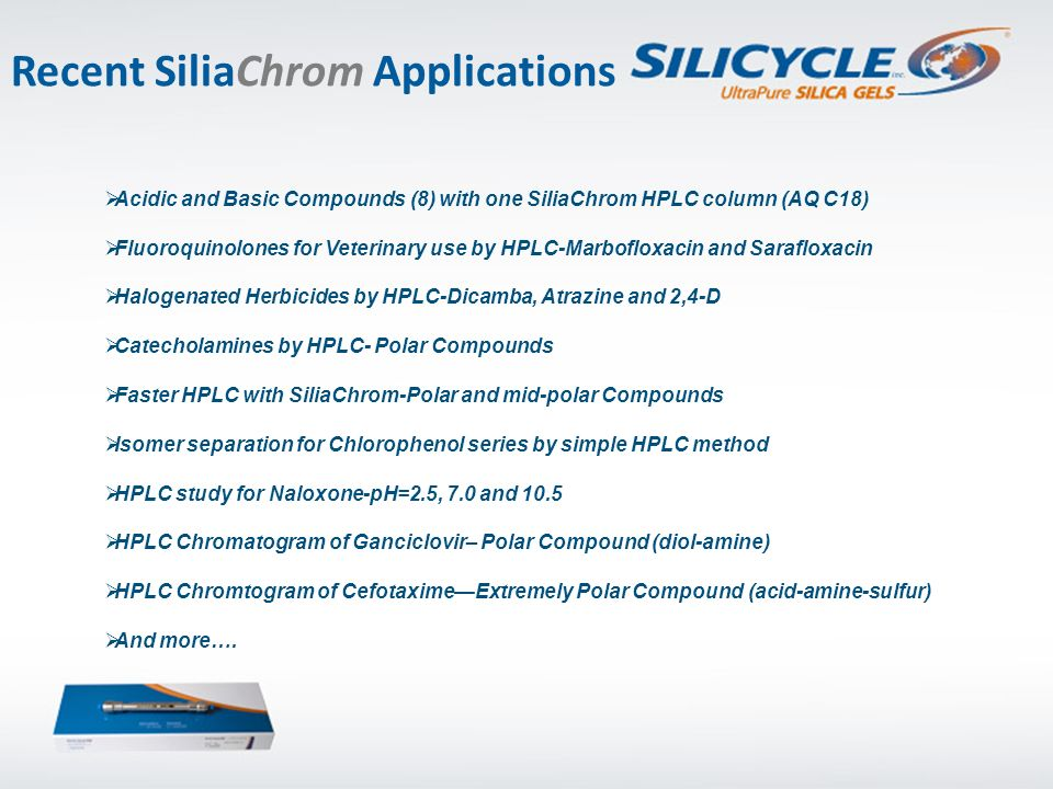 Recent SiliaChrom Applications