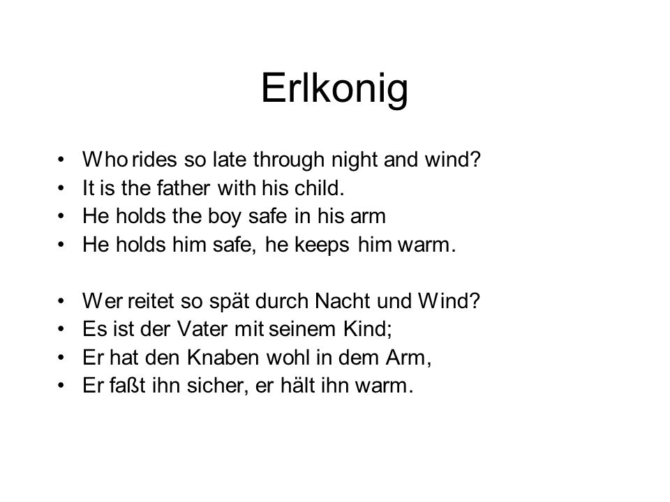 Erlkonig Who rides so late through night and wind