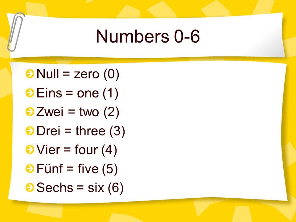 Numbers 0-6 Null = zero (0) Eins = one (1) Zwei = two (2)