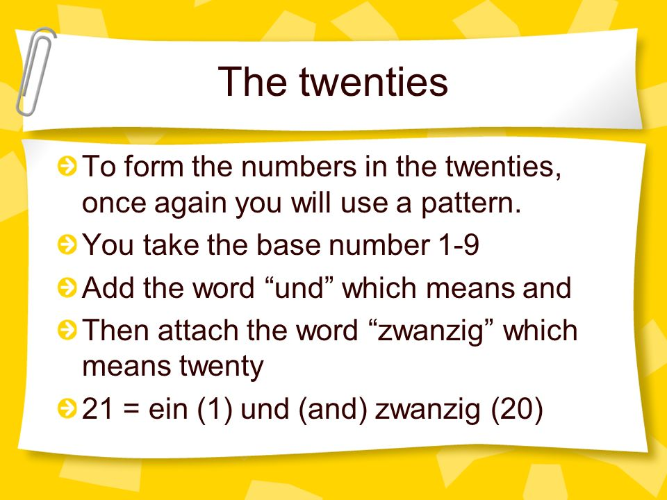 The twenties To form the numbers in the twenties, once again you will use a pattern. You take the base number 1-9.