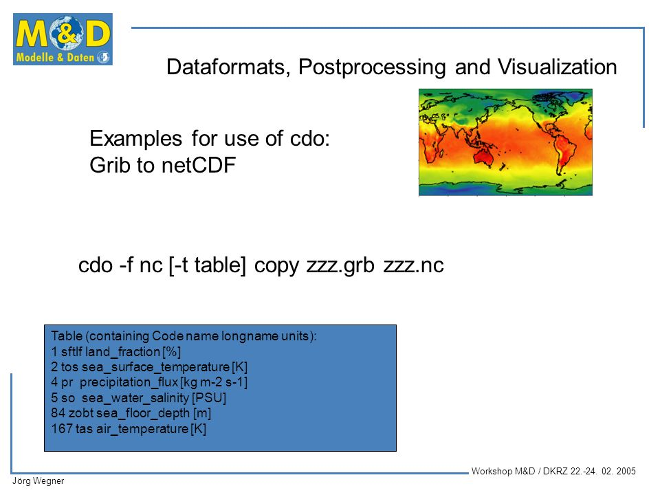 Examples for use of cdo: Grib to netCDF