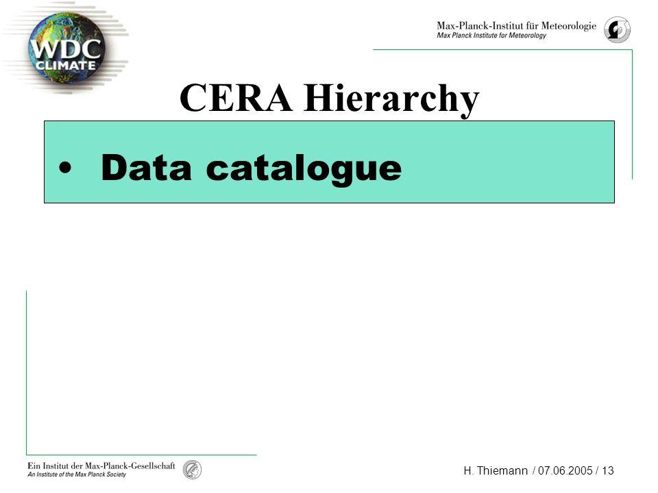 CERA Hierarchy Data catalogue