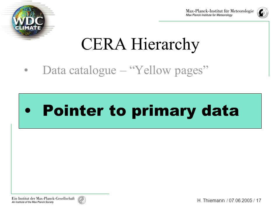 CERA Hierarchy Data catalogue – Yellow pages Pointer to primary data