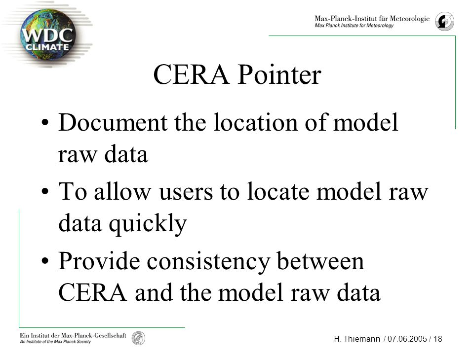CERA Pointer Document the location of model raw data