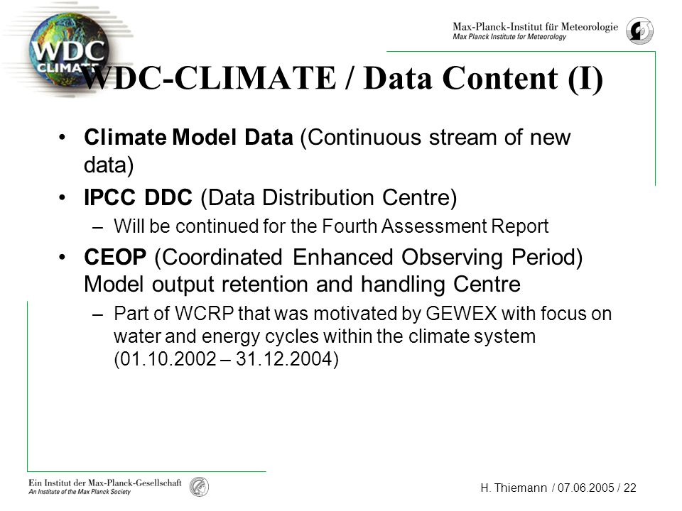 WDC-CLIMATE / Data Content (I)