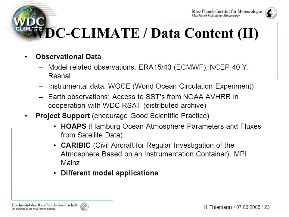 WDC-CLIMATE / Data Content (II)