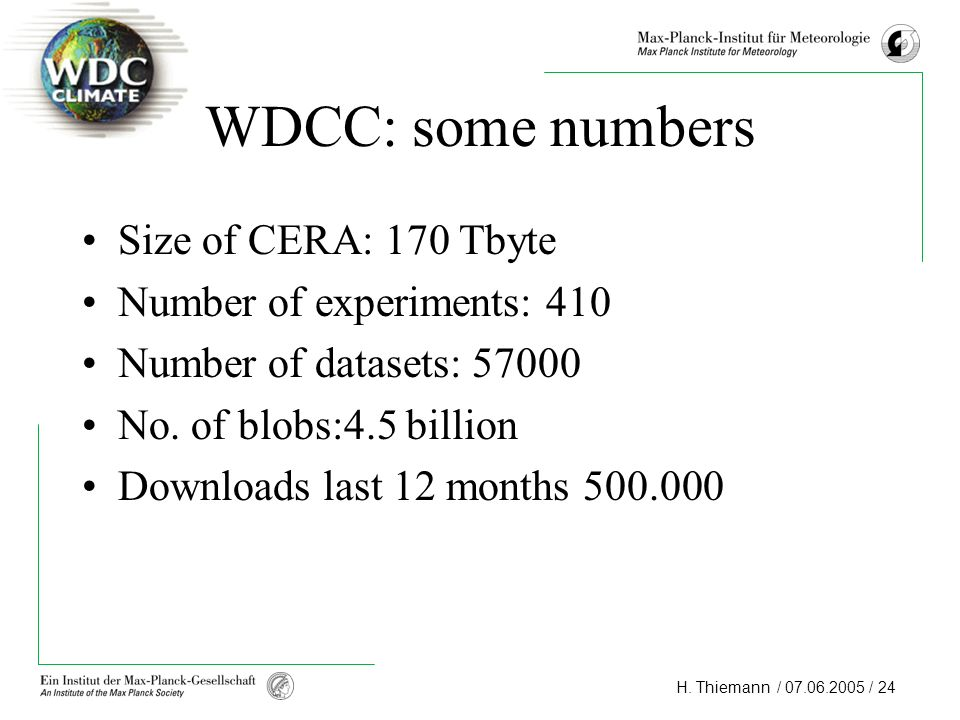 WDCC: some numbers Size of CERA: 170 Tbyte Number of experiments: 410