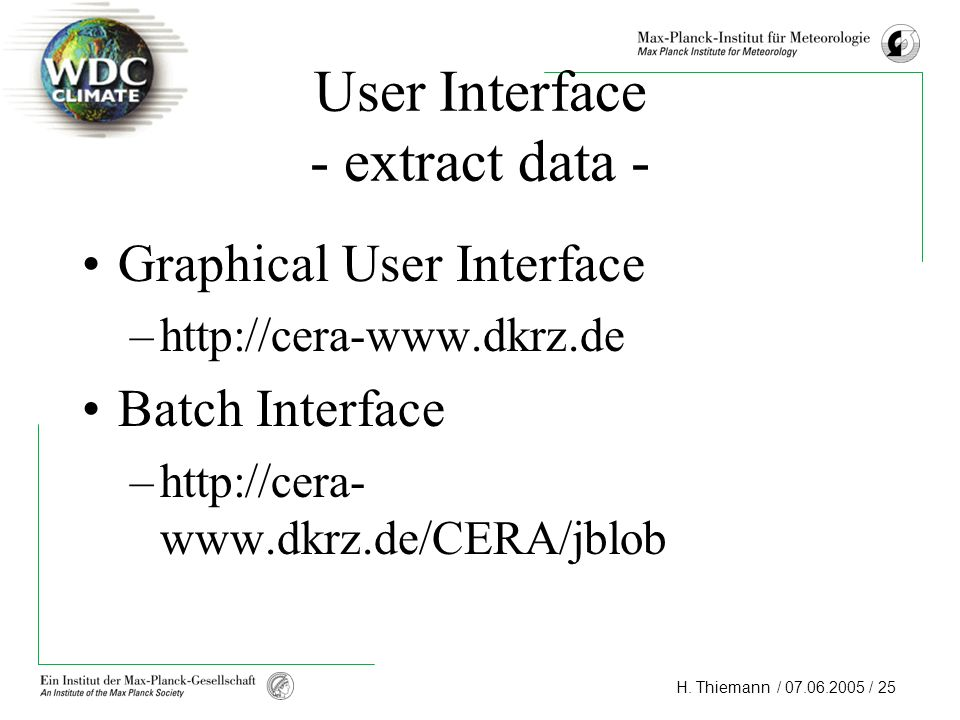 User Interface - extract data -