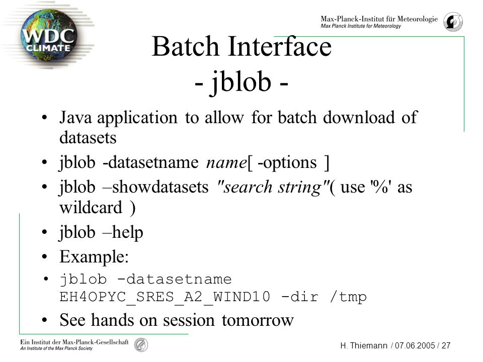 Batch Interface - jblob -