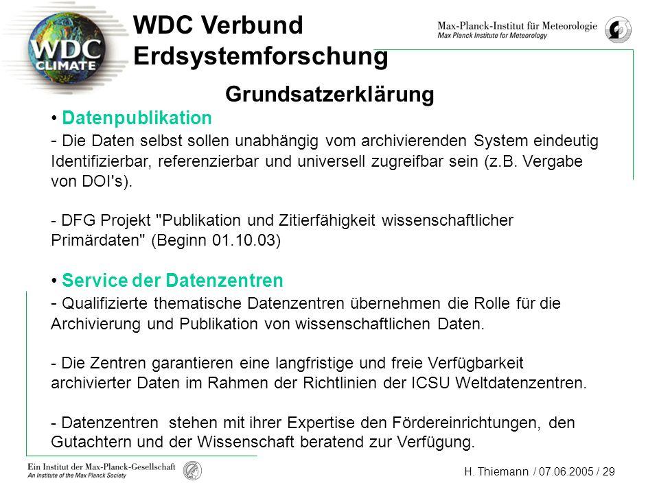 WDC Verbund Erdsystemforschung Grundsatzerklärung Datenpublikation