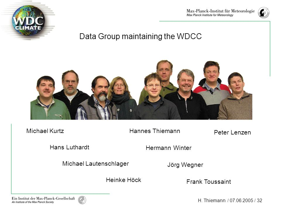 Data Group maintaining the WDCC