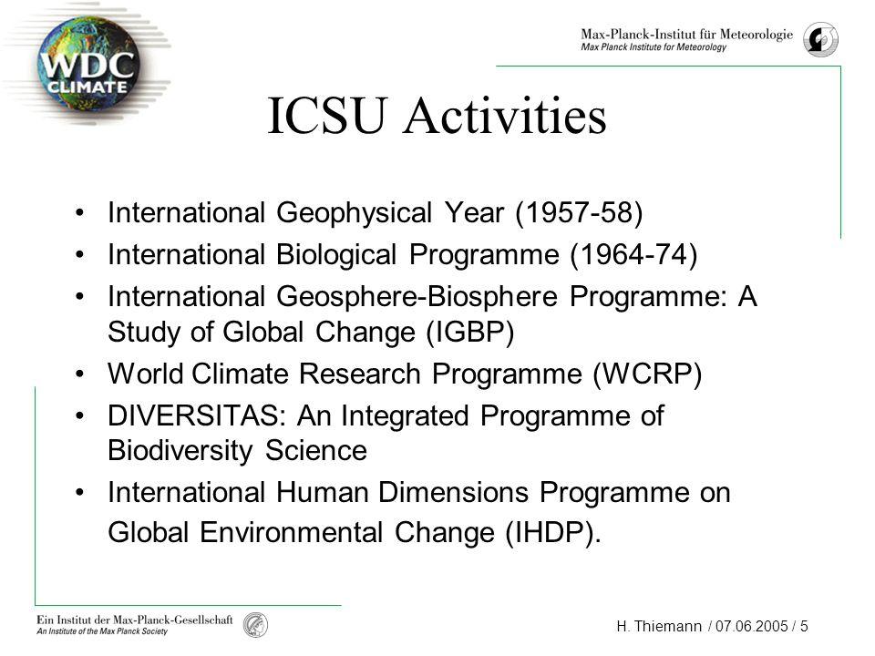ICSU Activities International Geophysical Year (1957-58)