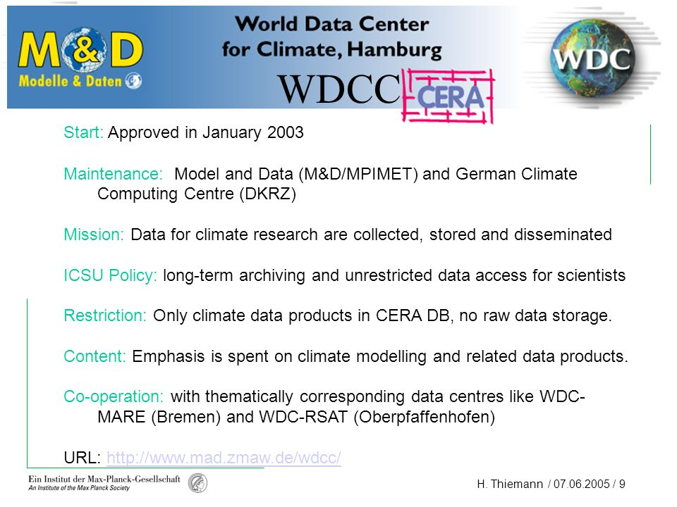 WDCC Start: Approved in January 2003