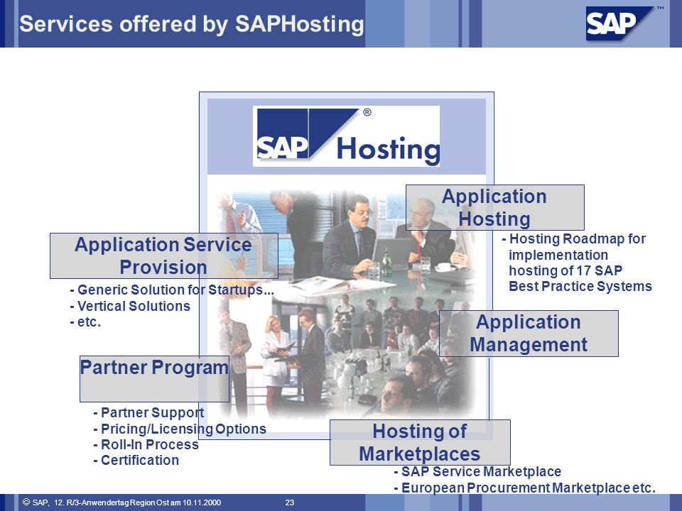 Services offered by SAPHosting
