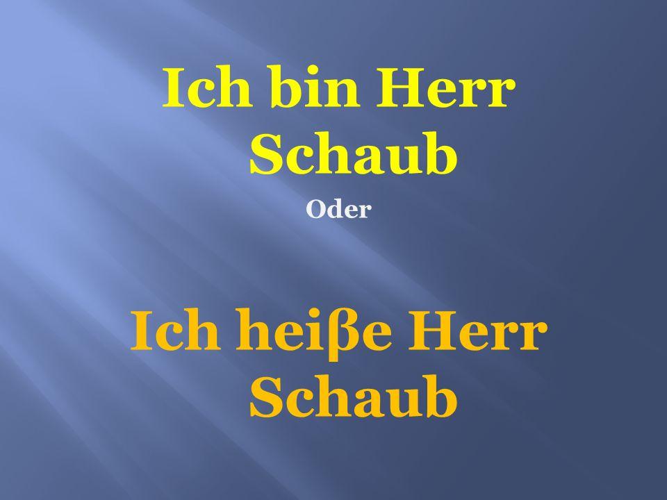 Ich bin Herr Schaub Ich heiβe Herr Schaub