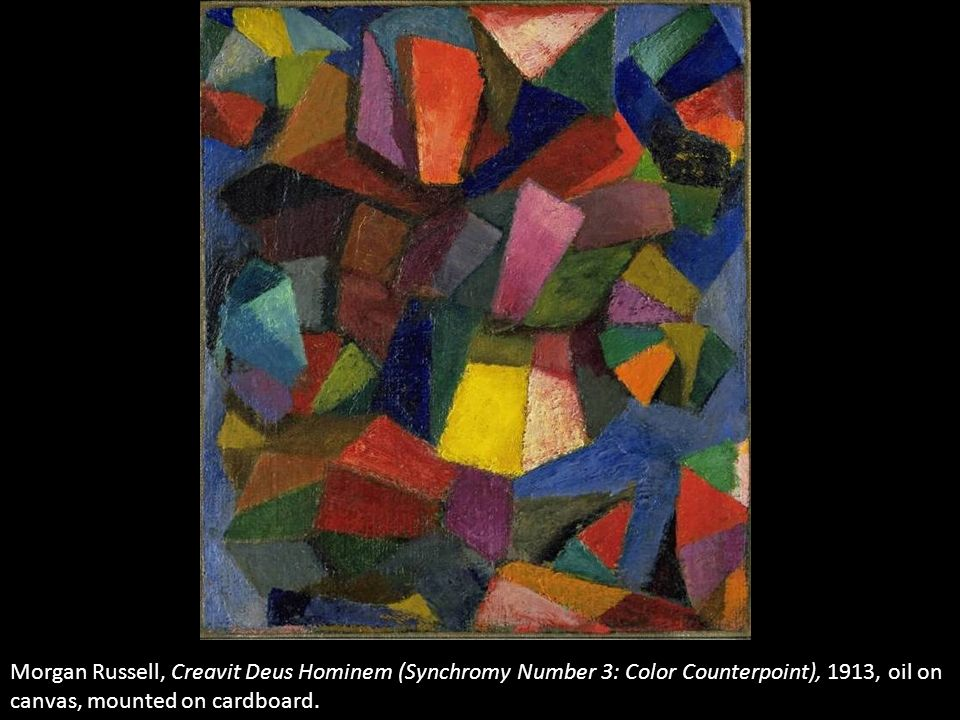 Morgan Russell, Creavit Deus Hominem (Synchromy Number 3: Color Counterpoint), 1913, oil on canvas, mounted on cardboard.