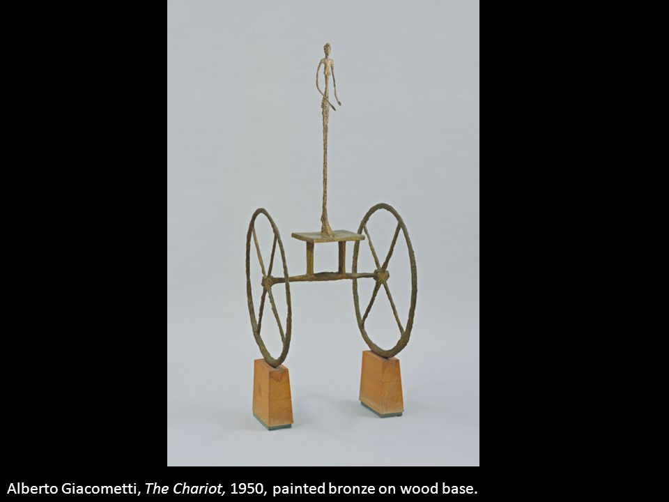 Alberto Giacometti, The Chariot, 1950, painted bronze on wood base.