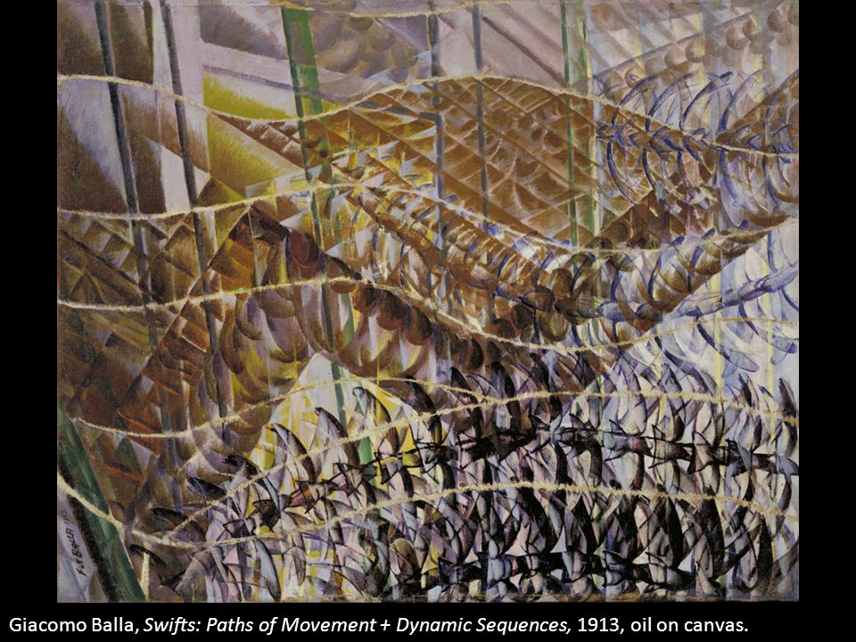 Giacomo Balla, Swifts: Paths of Movement + Dynamic Sequences, 1913, oil on canvas.