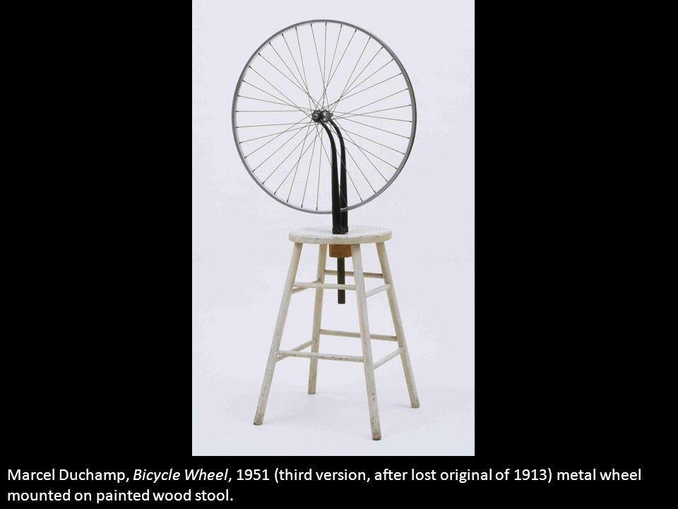 Marcel Duchamp, Bicycle Wheel, 1951 (third version, after lost original of 1913) metal wheel mounted on painted wood stool.