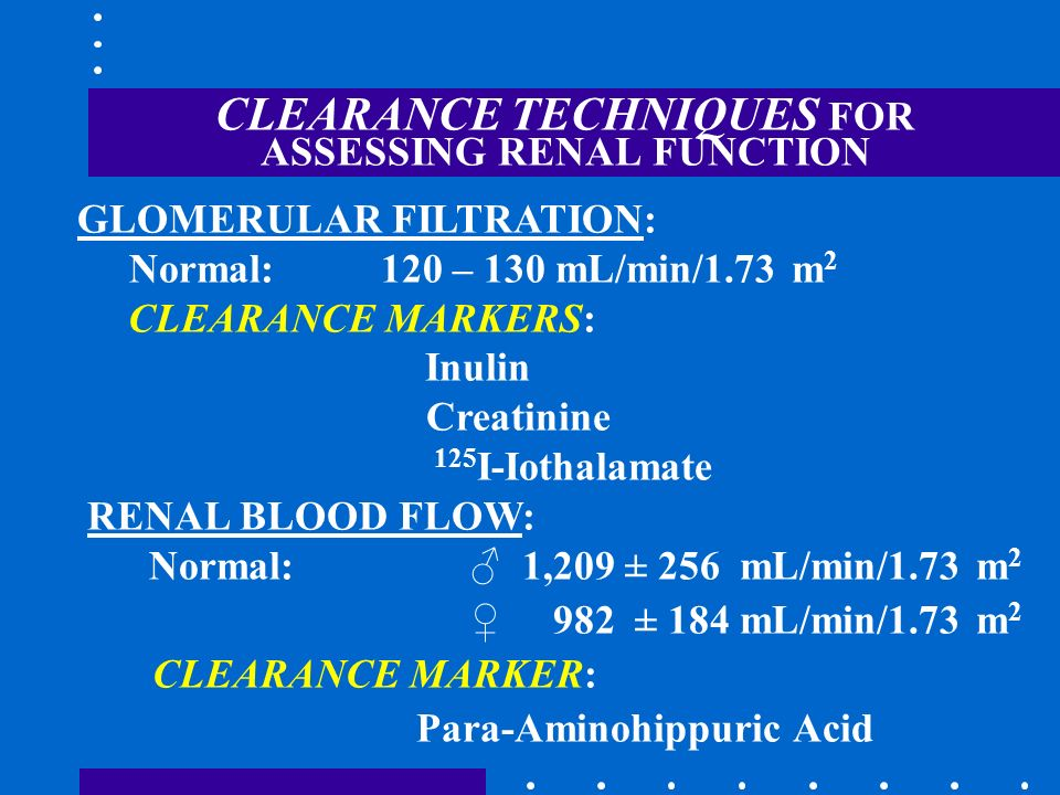 CLEARANCE TECHNIQUES FOR ASSESSING RENAL FUNCTION