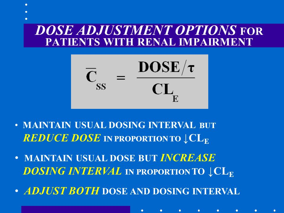 DOSE ADJUSTMENT OPTIONS FOR PATIENTS WITH RENAL IMPAIRMENT