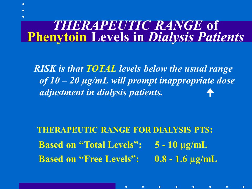 THERAPEUTIC RANGE of Phenytoin Levels in Dialysis Patients
