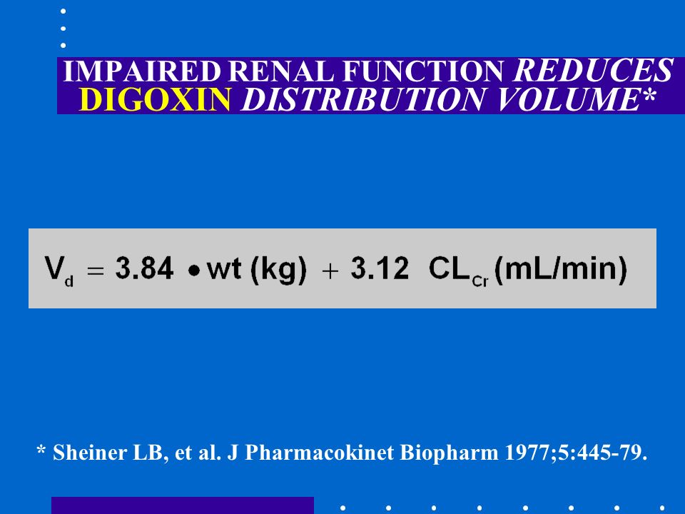 IMPAIRED RENAL FUNCTION REDUCES DIGOXIN DISTRIBUTION VOLUME*