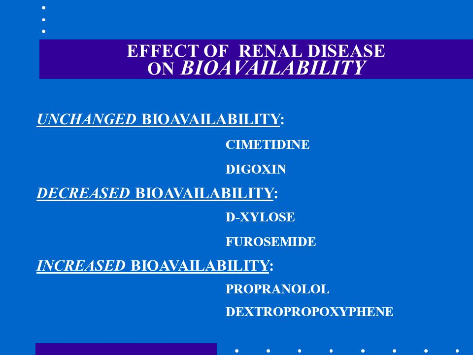 EFFECT OF RENAL DISEASE ON BIOAVAILABILITY