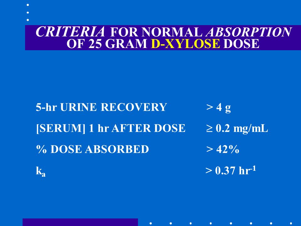 CRITERIA FOR NORMAL ABSORPTION OF 25 GRAM D-XYLOSE DOSE