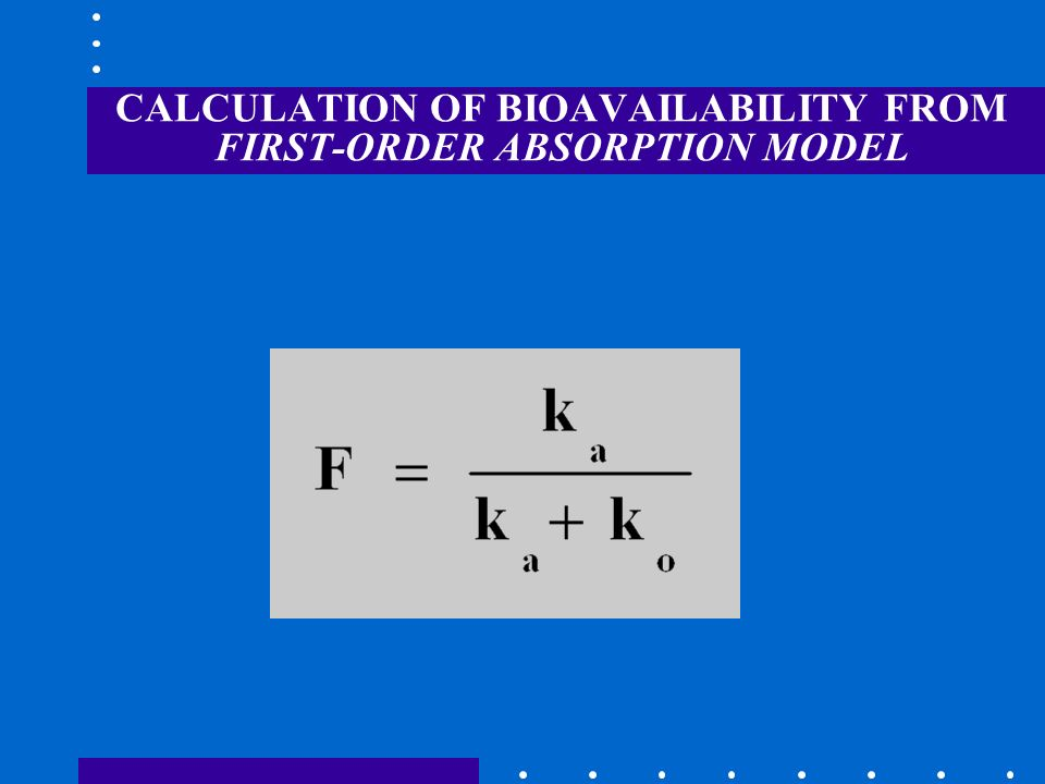 CALCULATION OF BIOAVAILABILITY FROM FIRST-ORDER ABSORPTION MODEL