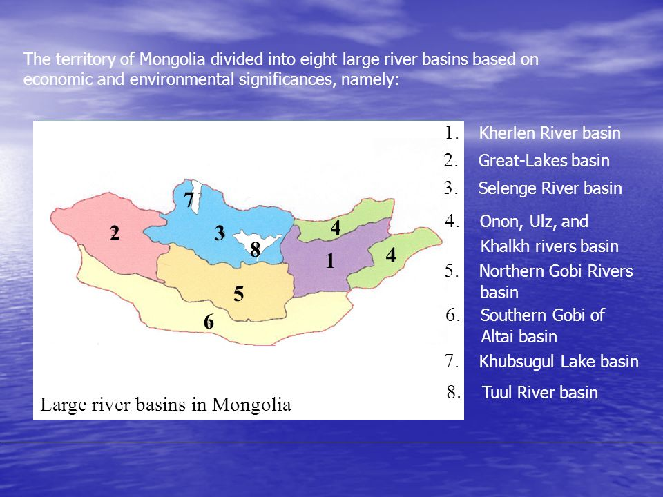 Large river basins in Mongolia