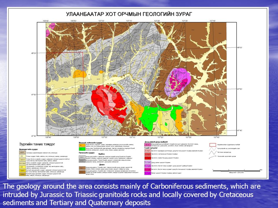 The geology around the area consists mainly of Carboniferous sediments, which are intruded by Jurassic to Triassic granitoids rocks and locally covered by Cretaceous sediments and Tertiary and Quaternary deposits