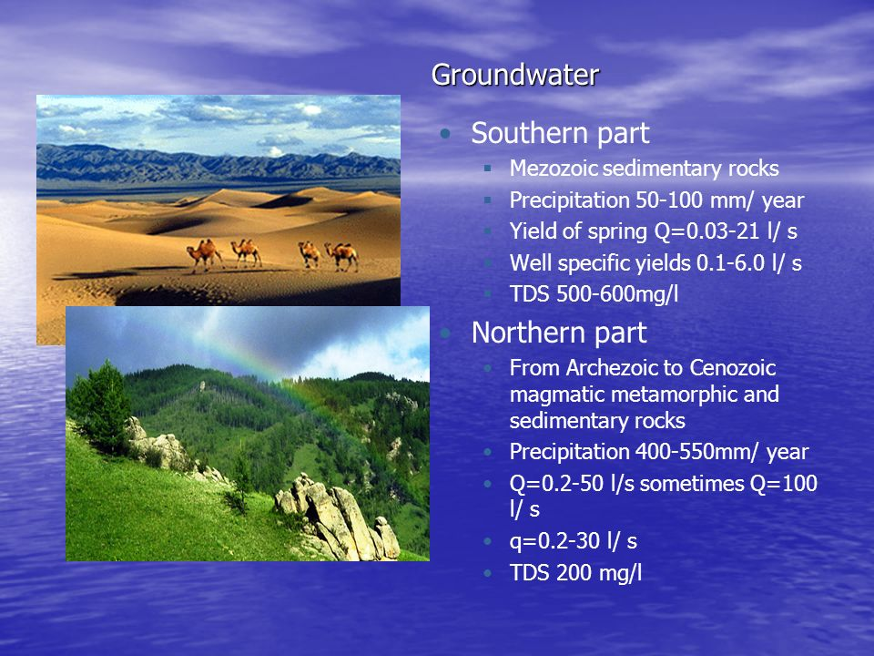 Groundwater Southern part Northern part Mezozoic sedimentary rocks