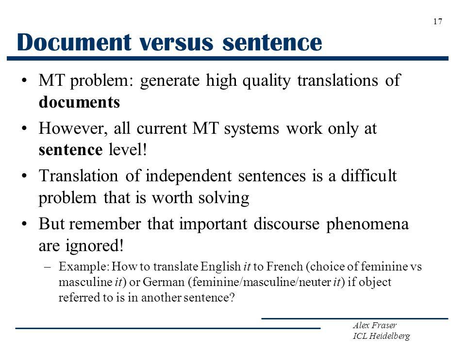 Document versus sentence