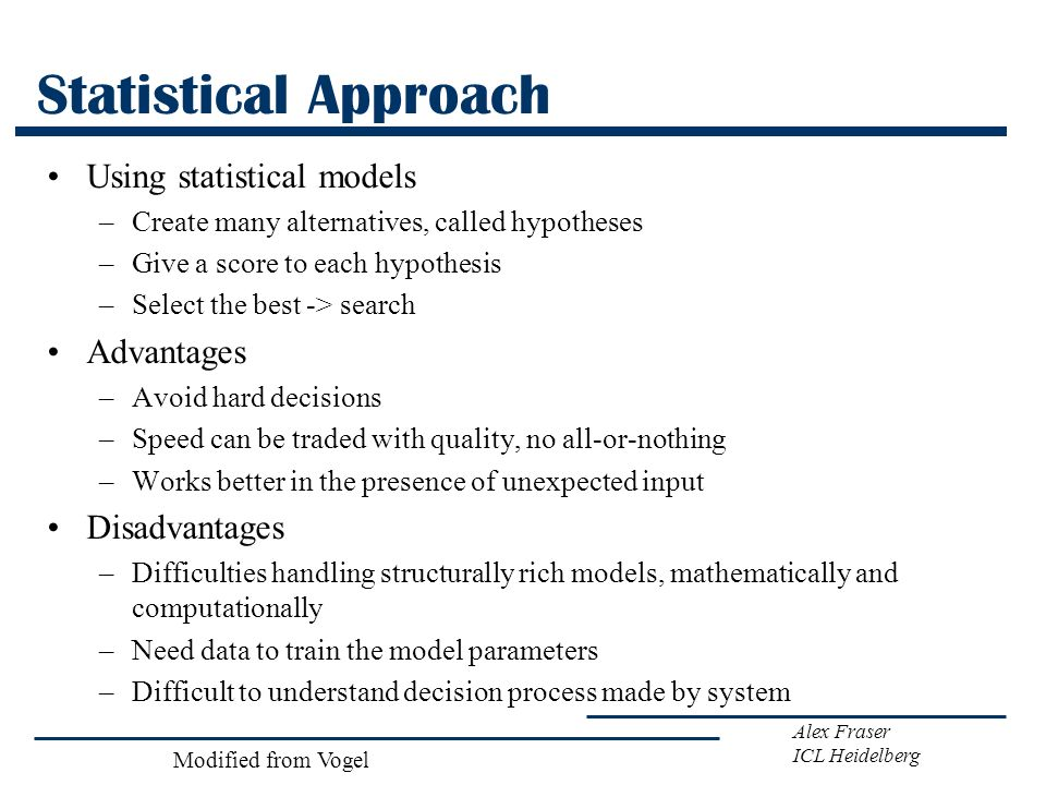 Statistical Approach Using statistical models Advantages Disadvantages