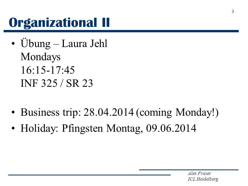 Organizational II Übung – Laura Jehl Mondays 16:15-17:45 INF 325 / SR 23. Business trip: 28.04.2014 (coming Monday!)