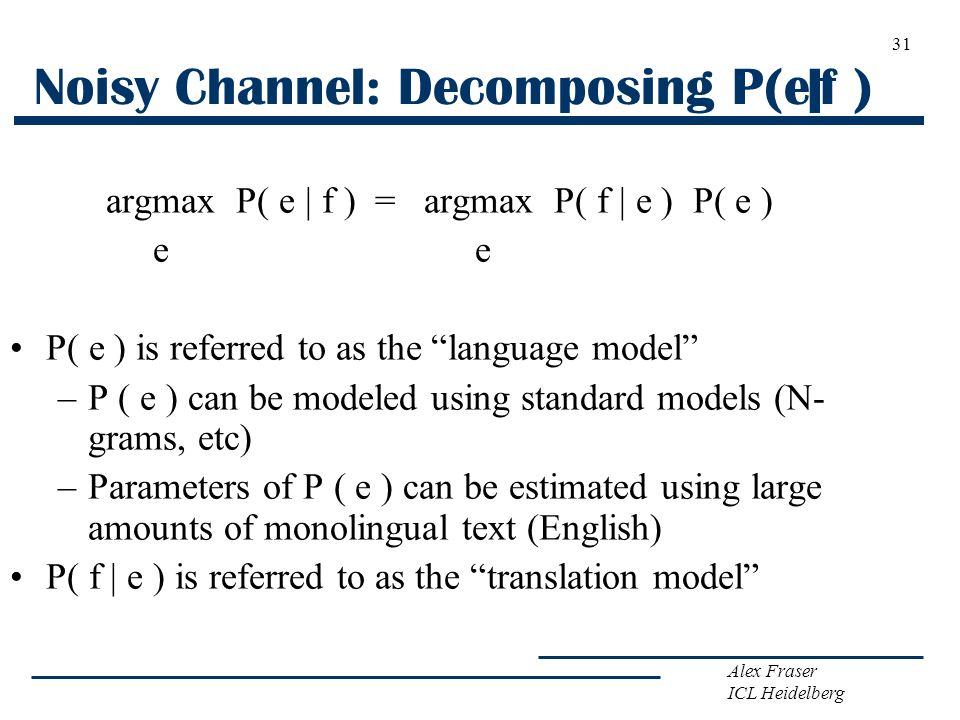 Noisy Channel: Decomposing P(e f )