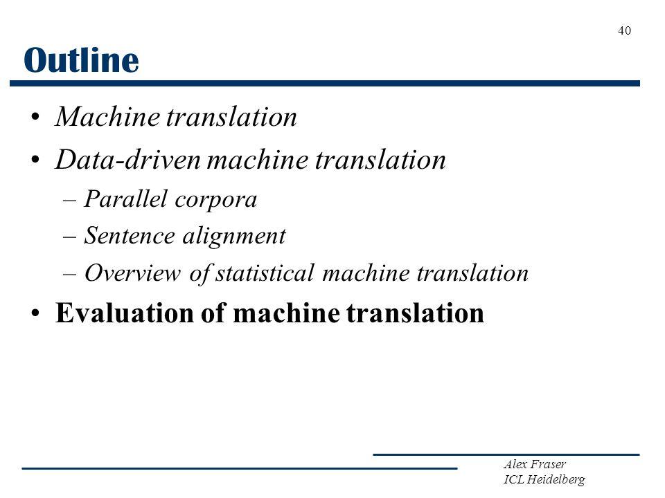 Outline Machine translation Data-driven machine translation