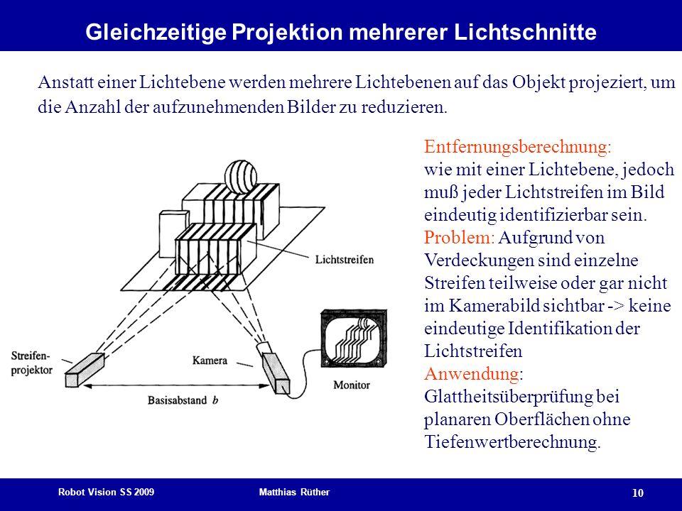 Gleichzeitige Projektion mehrerer Lichtschnitte