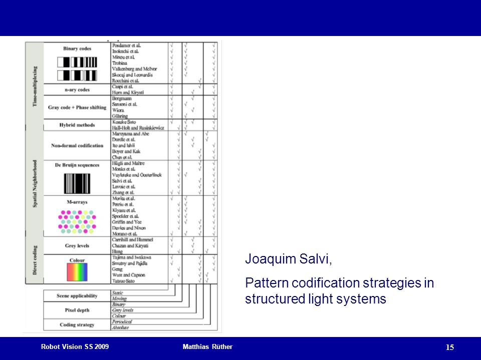 Joaquim Salvi, Pattern codification strategies in structured light systems