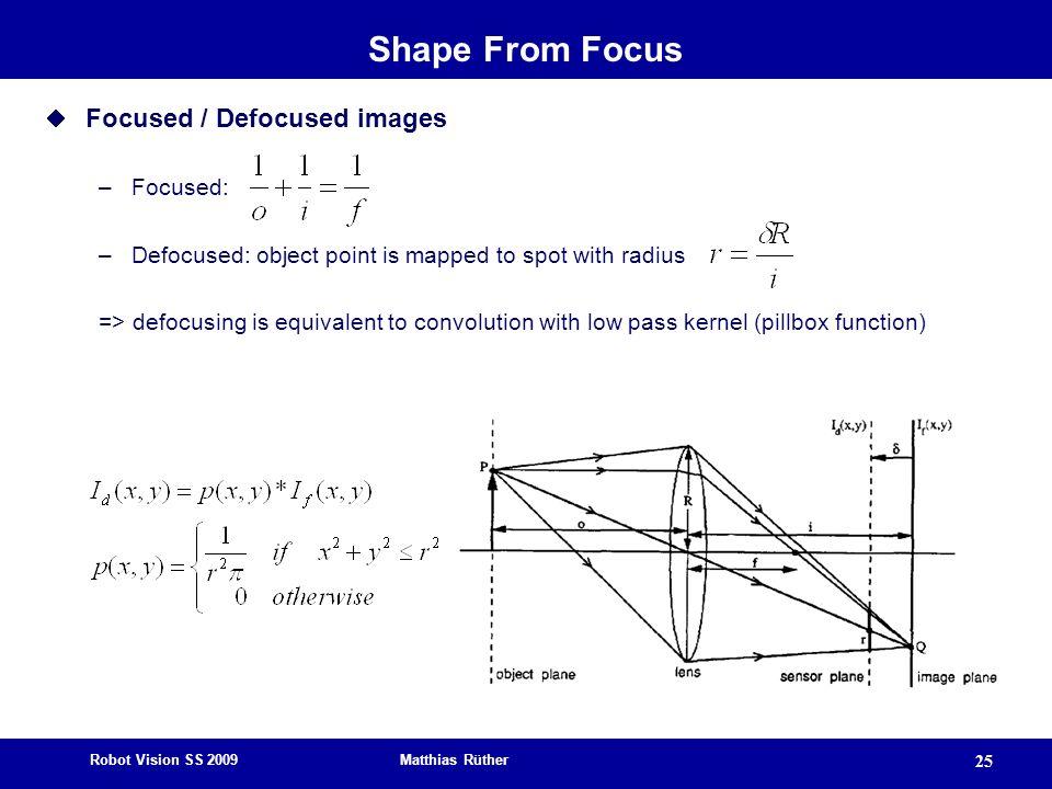 Shape From Focus Focused / Defocused images Focused: